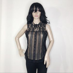 Free People Lace Sleeveless Tie Neck Blouse